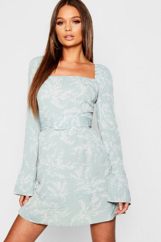 Belted Ruffle Hem + Sleeve Tea Dress