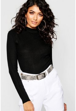 Black Ribbed Turtleneck Jumper