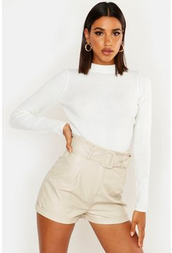 Womens Ivory Ribbed Turtleneck Sweater