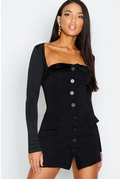 Womens Black Tuxedo Blazer Dress