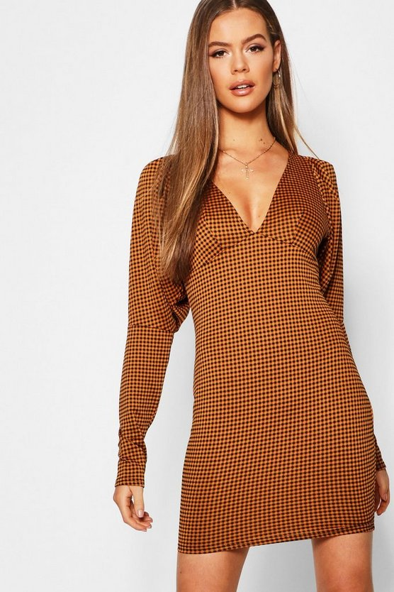 Check Puff Sleeve Bodycon Dress