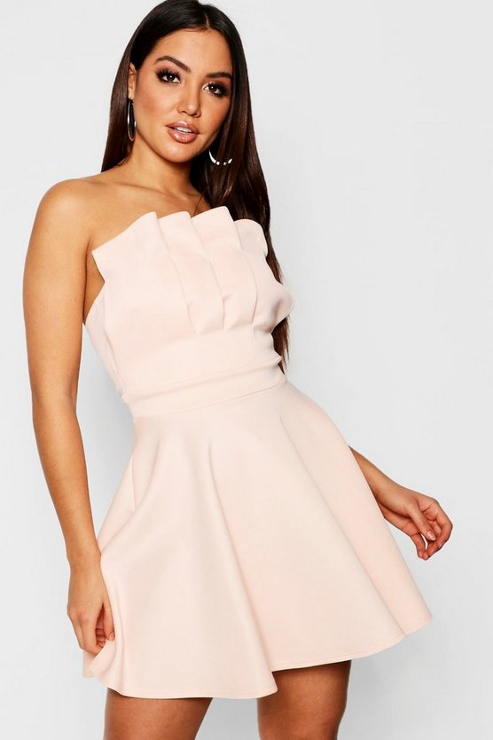 Womens Nude Bandeau Pleated Detail Skater Dress