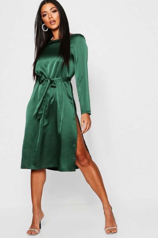 Satin Long Sleeved Tie Waist Midi Slip Dress