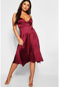 Womens Plum Strappy Satin Wrap Midi Dress