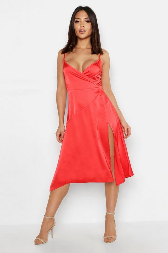 Womens Red Strappy Satin Wrap Midi Dress