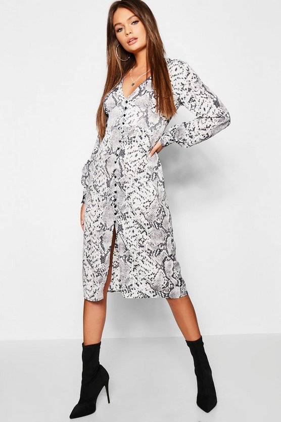 Snake Print Blouson Sleeve Button Midi Dress