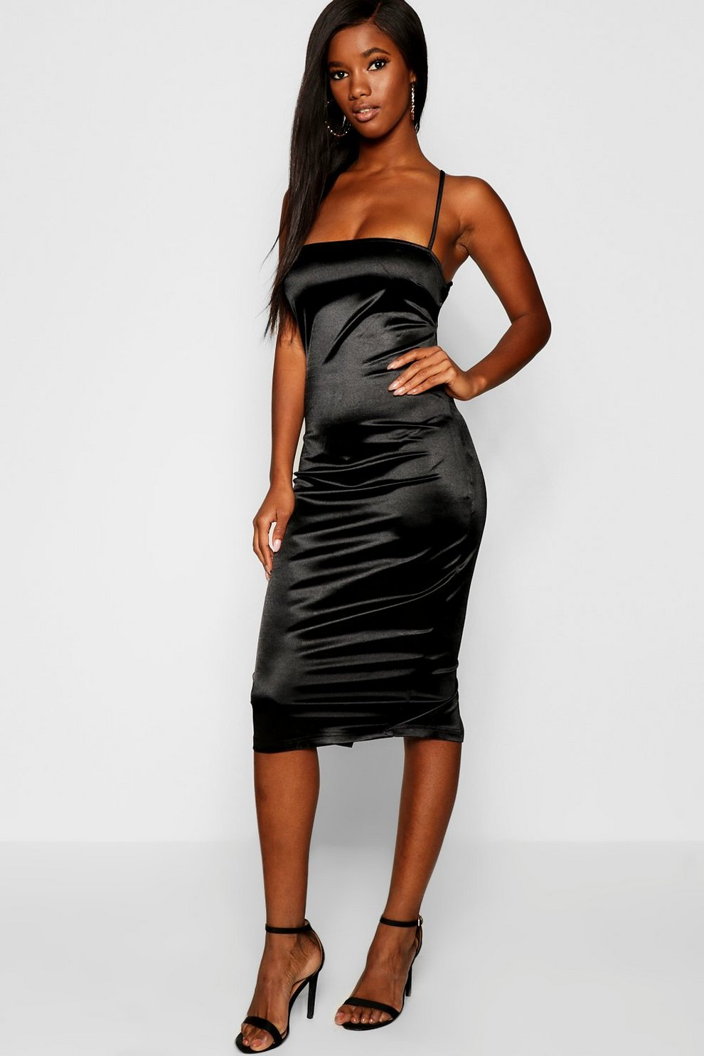 e75366cfa63 Satin Square Neck Strappy Back Midi Dress | Boohoo