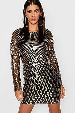 Sequin Mesh Long Sleeve Bodycon Dress