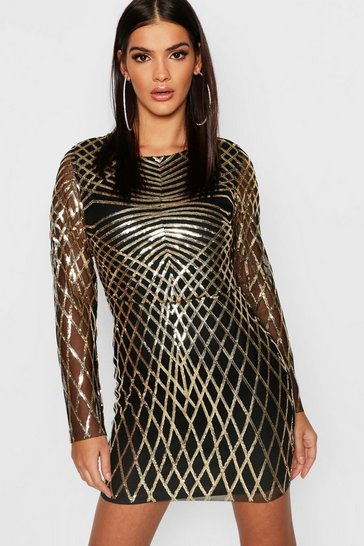 Womens Gold Sequin Mesh Long Sleeve Bodycon Dress