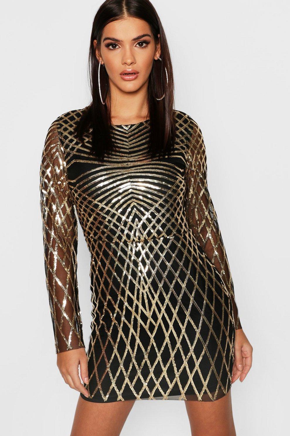 83f12437 Sequin Mesh Long Sleeve Bodycon Dress | Boohoo