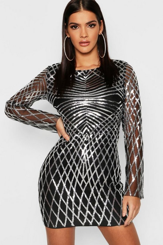 Womens Silver Sequin Mesh Long Sleeve Bodycon Dress