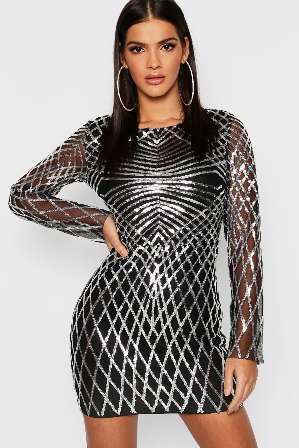 bff0342cbd0d Sequin Mesh Long Sleeve Bodycon Dress