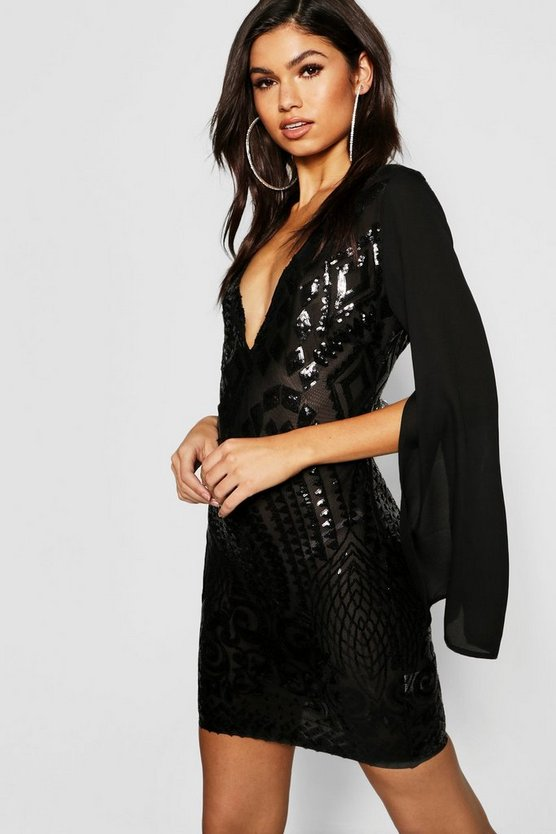 Sequin Chiffon Sleeve Bodycon Dress