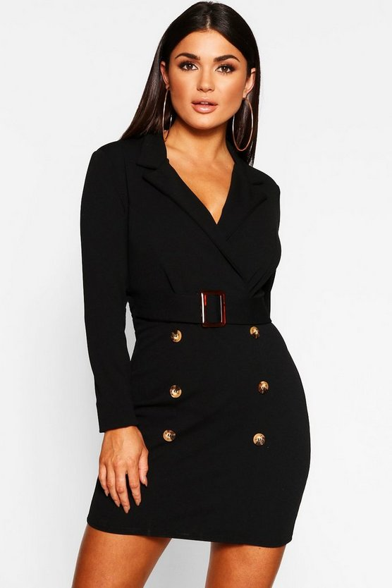 Womens Black Button Front Belted Blazer Bodycon Dress