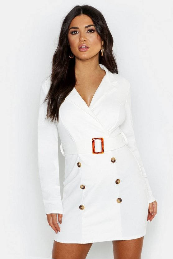 Button Front Belted Blazer Bodycon Dress