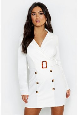 Womens White Button Front Belted Blazer Bodycon Dress