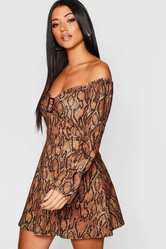 Brown Snake Print Buckle Detail Dress
