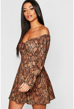 Womens Brown Snake Print Buckle Detail Dress