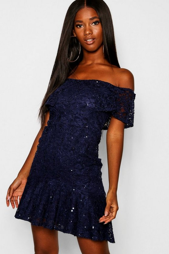 Glitter Lace Frill Hem Bodycon Dress