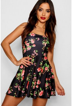 Womens Black Square Neck Floral Skater Dress