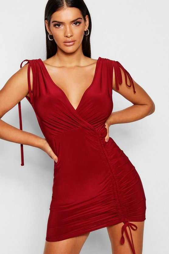 Ruched Tie Detail Bodycon Dress