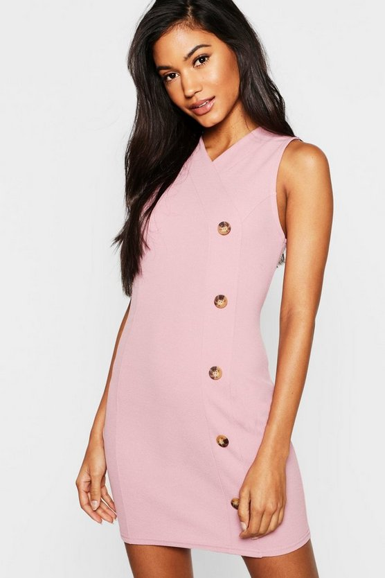 Womens Mauve Button Front Bodycon Dress