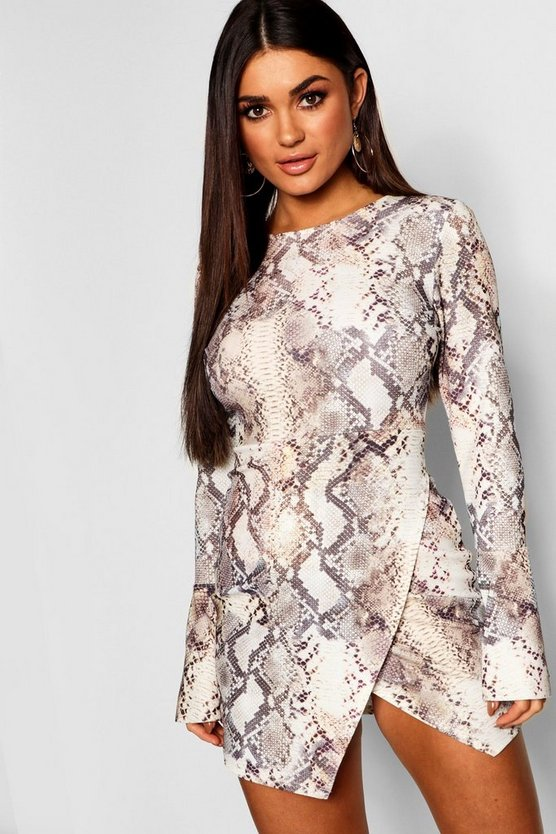Snake Print Wrap Hem Bodycon Dress
