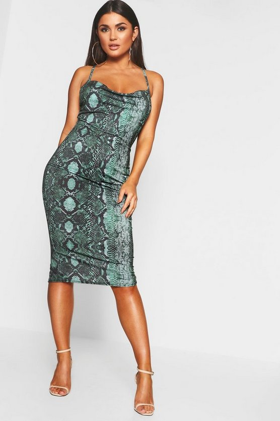 Leopard Strappy Cowl Neck Midi Dress
