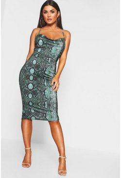 Womens Green Leopard Strappy Cowl Neck Midi Dress