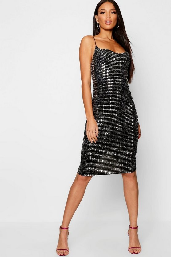 Sequin Glitter Print Cowl Midi Dress