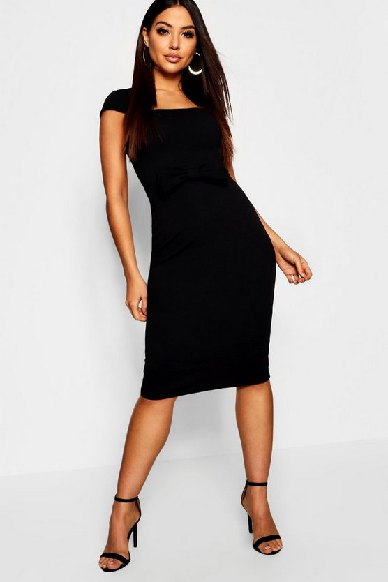 Womens Black Bow Front Cap Detail Midi Dress