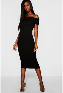 Womens Off The Shoulder Bodycon Midaxi Dress