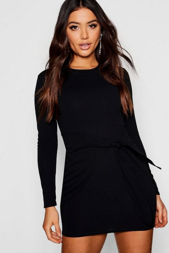 Long Sleeved Tie Detail Wrap Bodycon Dress