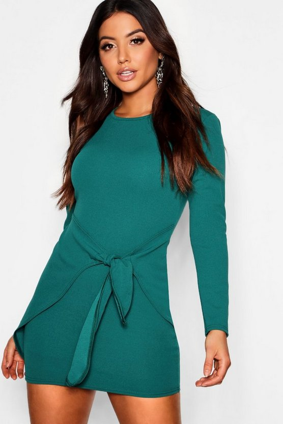 Womens Bottle green Long Sleeved Tie Detail Wrap Bodycon Dress