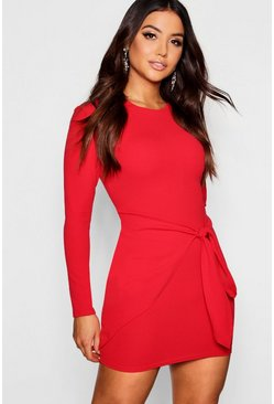 Womens Red Long Sleeved Tie Detail Wrap Bodycon Dress