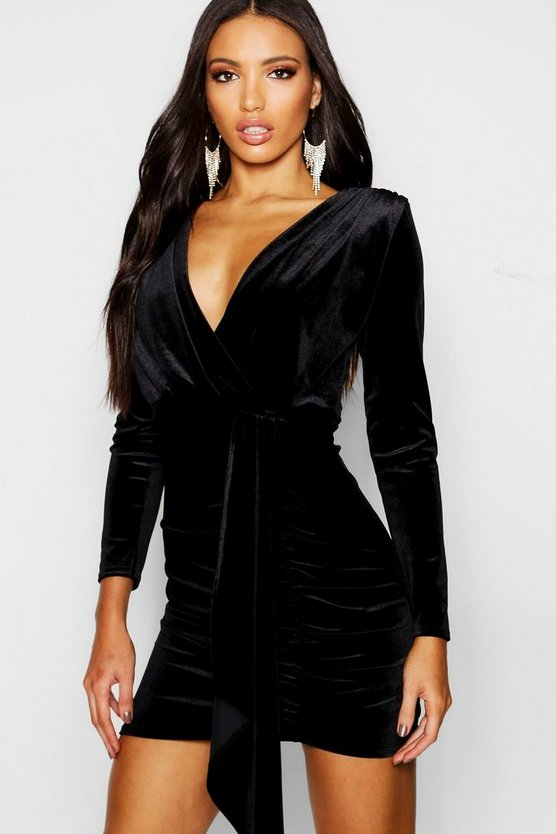 Womens Black Long Sleeved Plunge Front Drape Bodycon Dress
