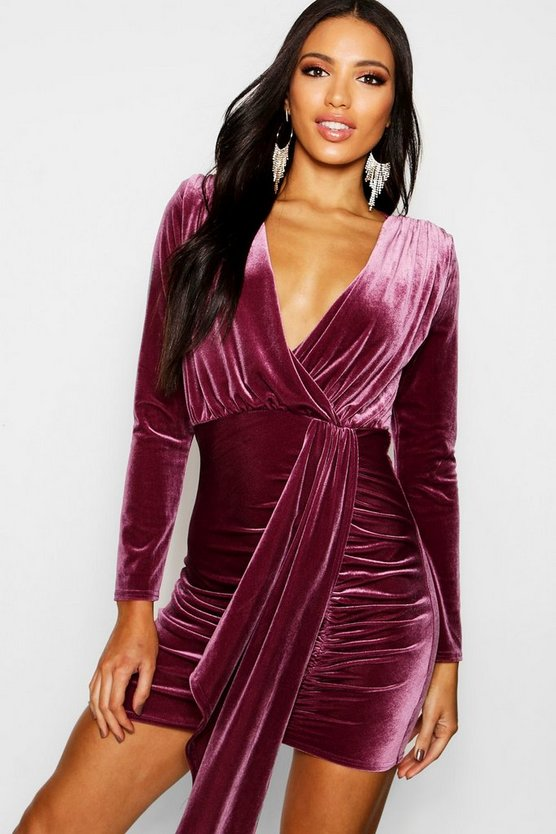 Womens Grape Long Sleeved Plunge Front Drape Bodycon Dress