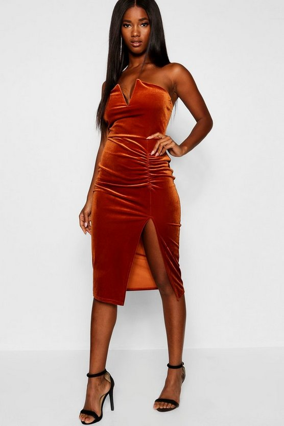 Velvet Plunge Bodycon Midi Split Dress