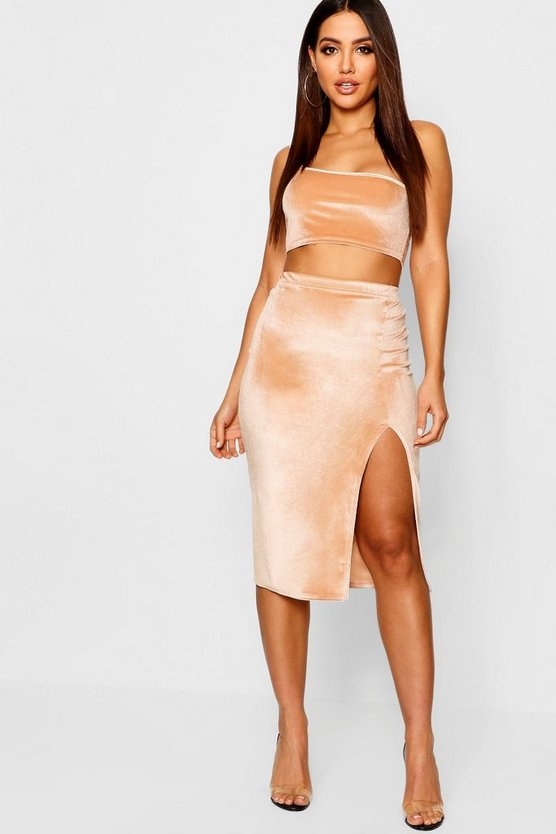 Womens Champagne Velvet Split Side Midi Skirt