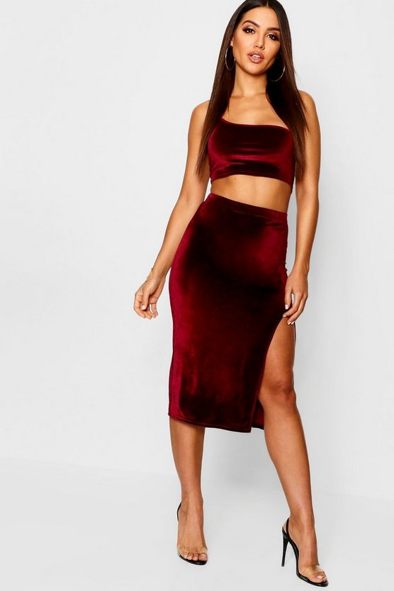 Velvet Split Side Midi Skirt