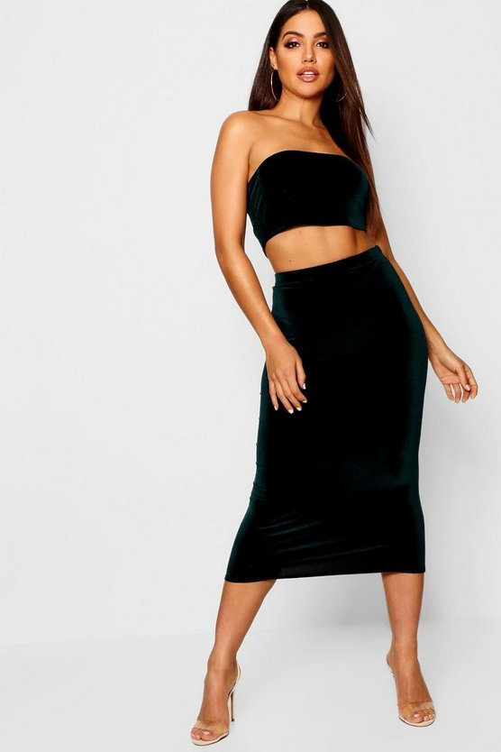 Womens Bottle Velvet Midaxi Skirt