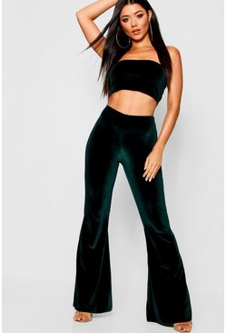 Womens Bottle Velvet Flares