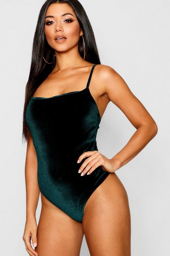 Velvet Square Neck Bodysuit