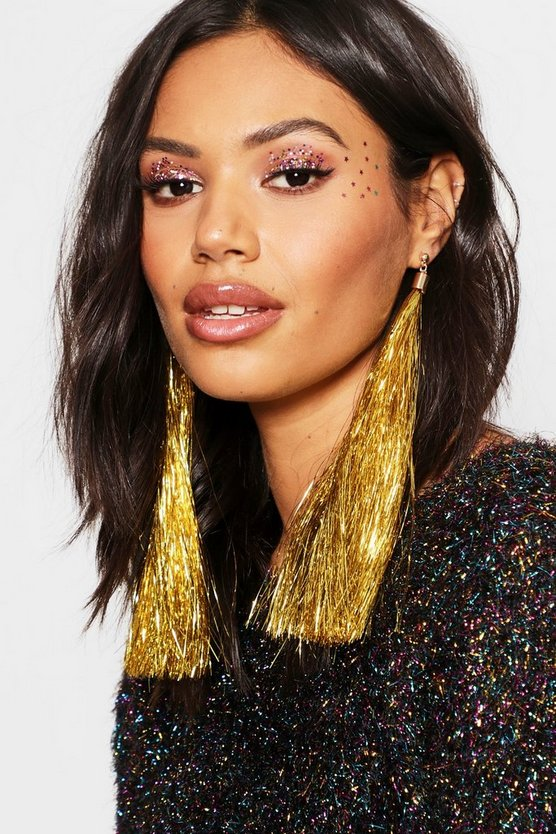 Gold Tinsel Tassel Earrings