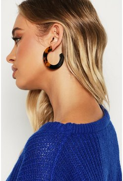 Womens Brown Half Tortoiseshell Contrast Hoops
