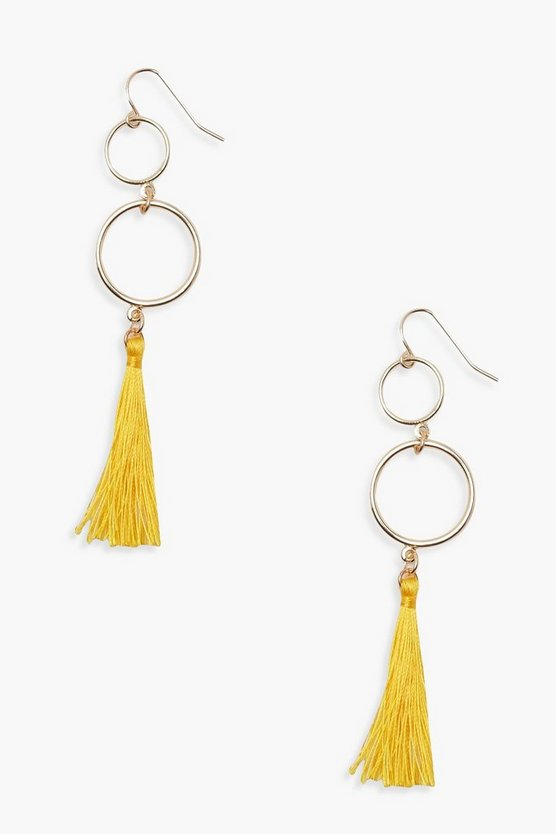 Double Circle Tassel Earrings