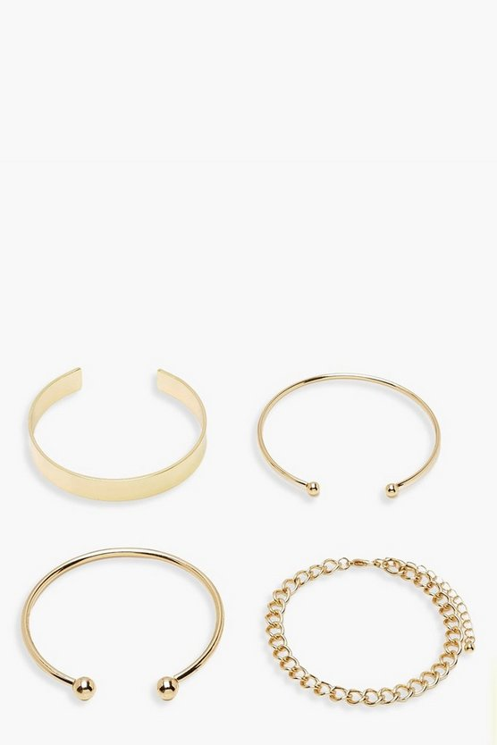 Womens Gold Chunky Bracelet & Cuff Set 4 Pack
