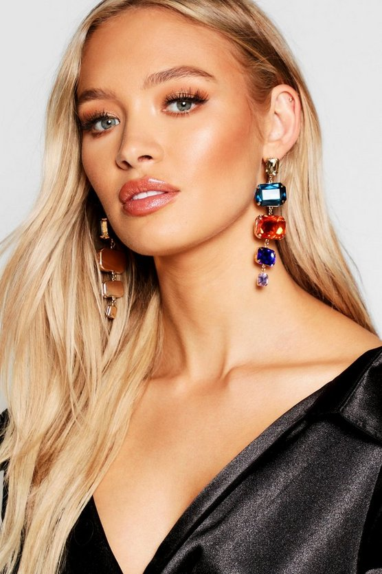 Drop Stone Statement Earrings