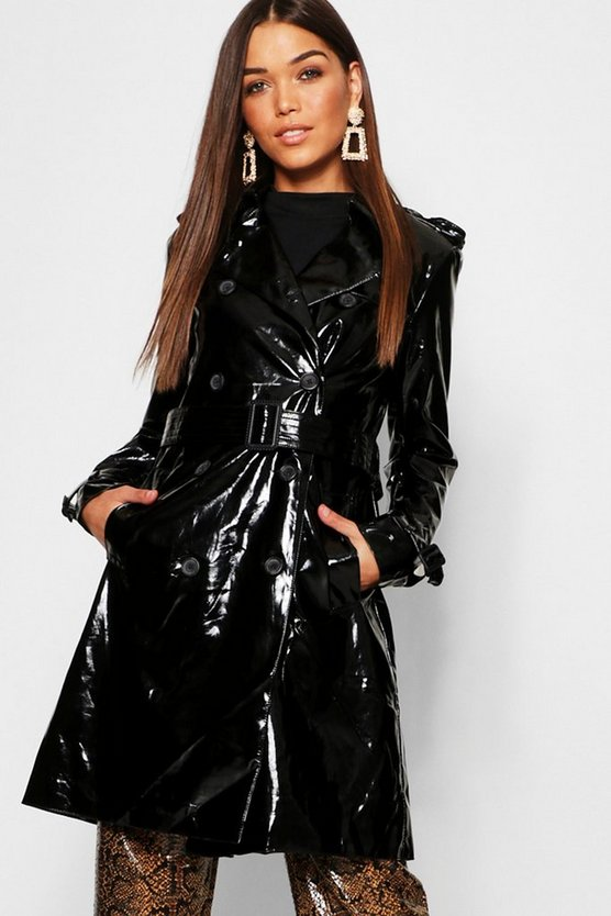 Womens Black PVC Belted Trench Coat