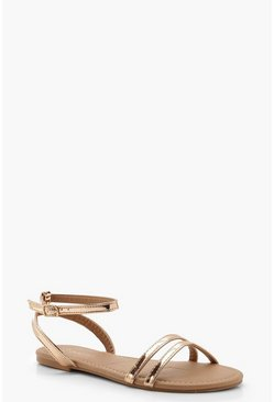 Womens Rose gold 2 Part Basic Flat Sandals
